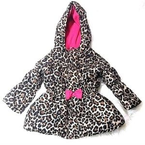 Childrens Place Girls Leopard Print Puffer Jacket